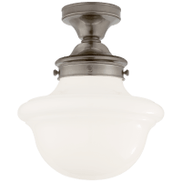 Edmond Flush Mount in Antique Nickel with White School House Glass