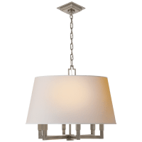 Square Tube Hanging Shade in Antique Nickel with Natural Paper Shade