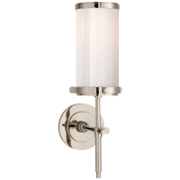 Bryant Bath Sconce in Polished Nickel with White Glass