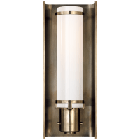 Greenwich Sconce in Antique Nickel with White Glass
