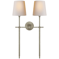 Bryant Large Double Tail Sconce in Antique Nickel with Natural Paper Shades