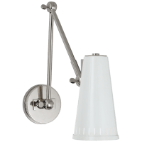 Antonio Adjustable Two Arm Wall Lamp in Polished Nickel with Antique White Shade