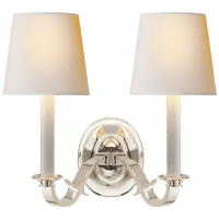 Channing Double Sconce in Polished Silver with Natural Paper Shades