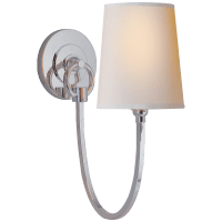 Reed Single Sconce in Polished Silver with Natural Paper Shade