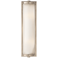 Dresser Long Glass Rod Light in Antique Nickel with Frosted Glass Liner