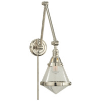 Gale Library Wall Light in Polished Nickel with Seeded Glass
