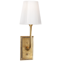 Hulton Sconce in Hand-Rubbed Antique Brass with Crystal Backplate and White Glass Shade