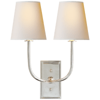 Hulton Double Sconce in Polished Nickel with Crystal Backplate and Natural Paper Shades
