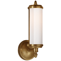 Merchant Single Bath Light in Hand-Rubbed Antique Brass with White Glass
