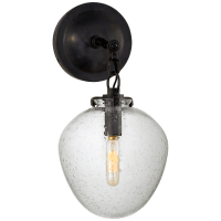 Katie Small Acorn Sconce in Bronze with Seeded Glass