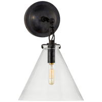 Katie Small Conical Sconce in Bronze with Clear Glass