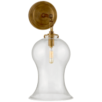 Katie Small Bell Jar Sconce in Hand-Rubbed Antique Brass with Clear Glass