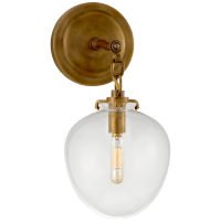 Katie Small Acorn Sconce in Hand-Rubbed Antique Brass with Clear Glass