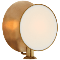 Osiris Single Reflector Sconce in Hand-Rubbed Antique Brass with Linen Diffuser