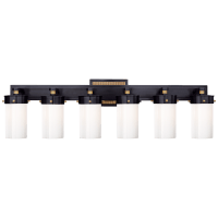 Marais Six-Light Bath Sconce in Bronze and Hand-Rubbed Antique Brass with White Glass
