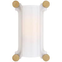 Chirac Small Sconce in Hand-Rubbed Antique Brass with White Glass