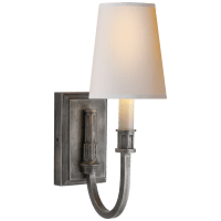 Modern Library Sconce in Sheffield Nickel with Natural Paper Shade