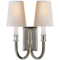 Modern Library Double Sconce in Polished Nickel with Natural Paper Shades