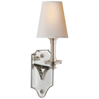 Verona Mirrored Sconce in Polished Nickel with Natural Paper Shade