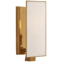 Albertine Petite Sconce in Hand-Rubbed Antique Brass with Linen Diffuser