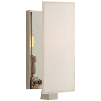 Albertine Petite Sconce in Polished Nickel with Linen Diffuser