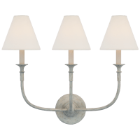 Piaf Triple Sconce in Swedish Gray with Linen Shades