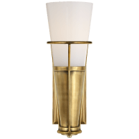 Robinson Single Sconce in Hand-Rubbed Antique Brass with White Glass