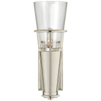 Robinson Single Sconce in Polished Nickel with Clear Glass