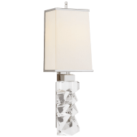 Argentino Large Sconce in Crystal and Polished Nickel with Linen Shade with Nickel Trimmed Shade