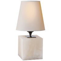 Terri Cube Accent Lamp in Alabaster with Natural Paper Shade