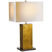 Dixon Tall Table Lamp in Hand-Rubbed Antique Brass with Bronze with Natural Paper Shade