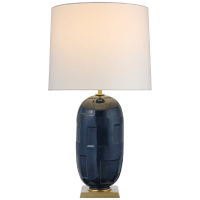 Incasso Large Table Lamp in Mixed Blue Brown with Linen Shade