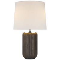 Minx Large Table Lamp in Crystal Bronze with Linen Shade