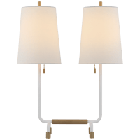 Adolfo Medium Desk Lamp in Plaster White and Hand-Rubbed Antique Brass with Linen Shades