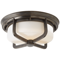 Milton Large Flush Mount in Bronze with White Glass