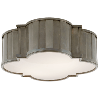 Tilden Large Flush Mount in Antique Nickel with White Glass