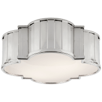 Tilden Large Flush Mount in Polished Nickel with White Glass