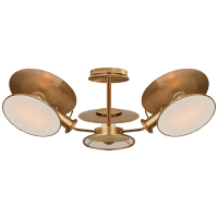 Osiris Medium Reflector Semi-Flush Mount in Hand-Rubbed Antique Brass with Linen Diffusers