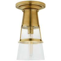 Robinson Medium Flush in Hand-Rubbed Antique Brass with Seeded Glass