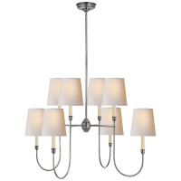Vendome Large Chandelier in Antique Silver with Natural Paper Shades
