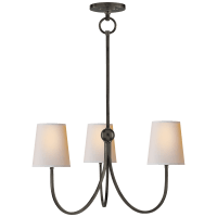 Reed Small Chandelier in Bronze with Natural Paper Shades
