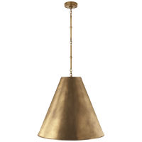 Goodman Large Hanging Lamp in Hand-Rubbed Antique Brass with Hand-Rubbed Antique Brass Shade