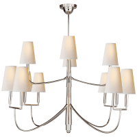 Farlane Large Chandelier in Polished Silver with Natural Paper Shades