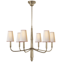 Farlane Small Chandelier in Antique Nickel with Natural Paper Shades and Red Tape