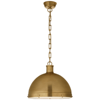 Hicks Extra Large Pendant in Hand-Rubbed Antique Brass with Acrylic Diffuser