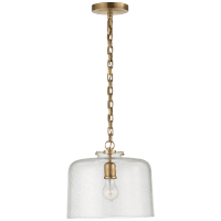 Katie Dome Pendant in Hand-Rubbed Antique Brass with Seeded Glass