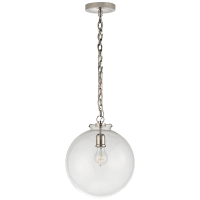 Katie Globe Pendant in Polished Nickel with Clear Glass