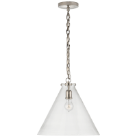 Katie Conical Pendant in Polished Nickel with Clear Glass