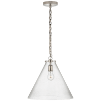 Katie Conical Pendant in Polished Nickel with Seeded Glass