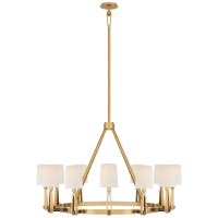 Alpha Grande Chandelier in Hand-Rubbed Antique Brass and Bronze with Linen Shades